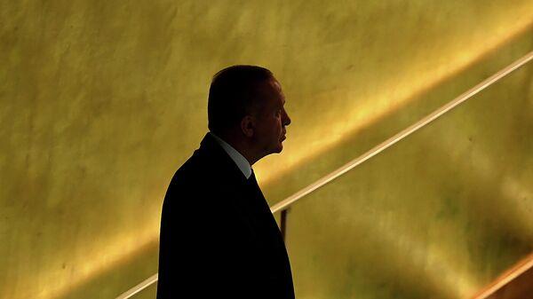 Президент Турции Реджеп Тайип Эрдоган перед выступлением на 76-й сессии Генеральной Ассамблеи ООН (21 сентября 2021). Нью-Йорк - Sputnik Армения