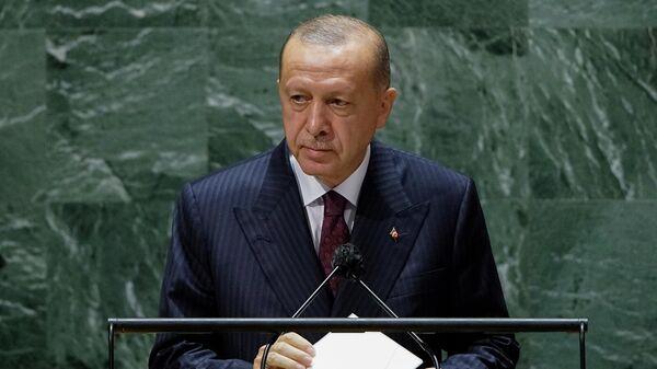 Президент Турции Реджеп Тайип Эрдоган на 76-й сессии Генеральной Ассамблеи ООН (21 сентября 2021). Нью-Йорк - Sputnik Армения
