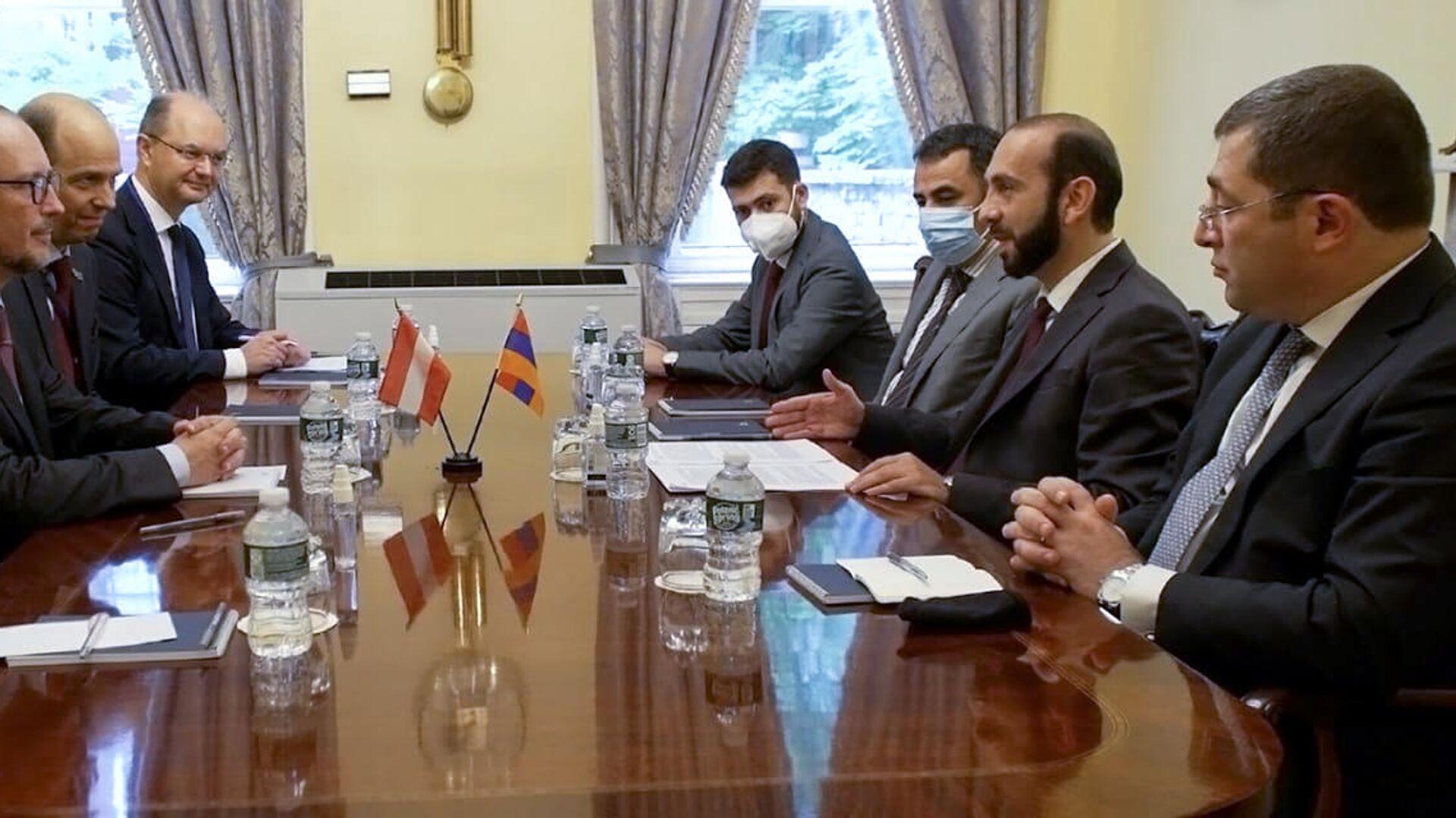 Встреча глав МИД Армении и Австрии Арарата Мирзояна и Александра Шаленберга (22 сентября 2021). Нью-Йорк - Sputnik Армения, 1920, 22.09.2021