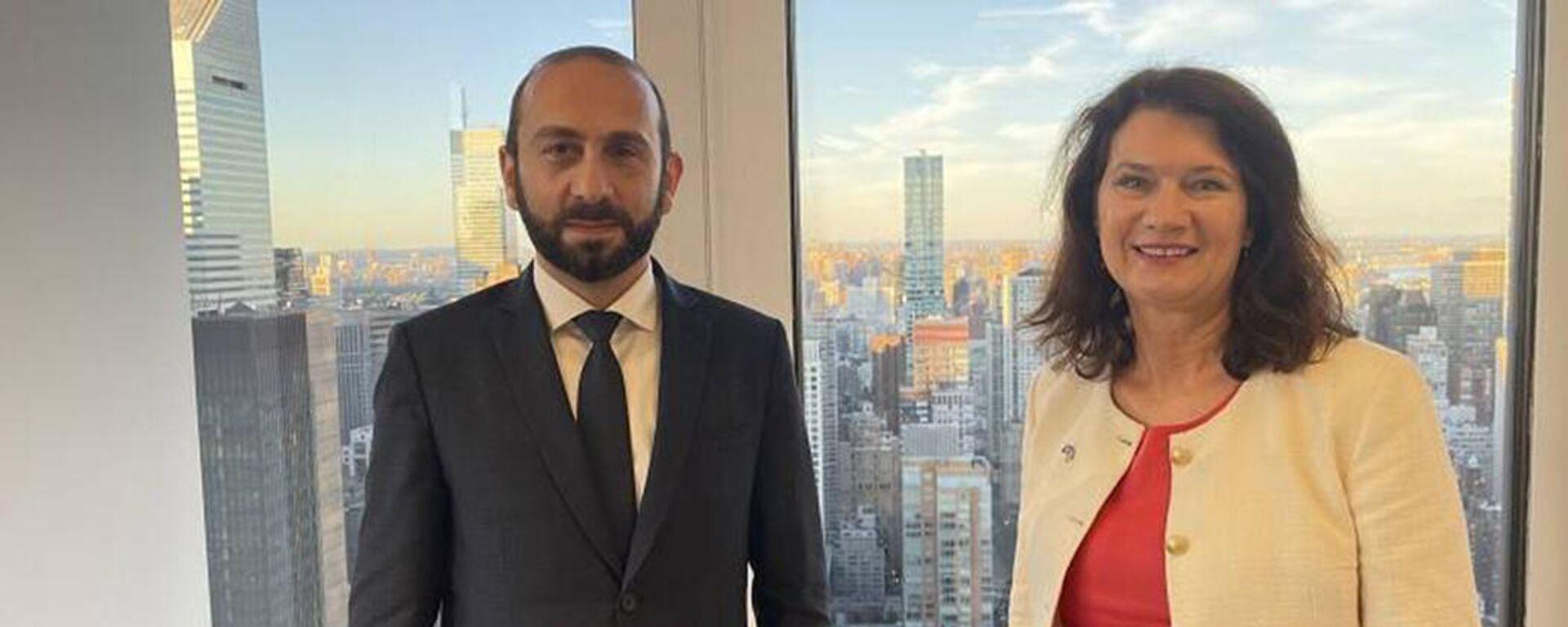 Министр иностранных дел Армении Арарат Мирзоян встретился с главой МИД Швеции Анн Линде (25 сентября 2021). Нью-Йорк - Sputnik Արմենիա, 1920, 25.09.2021