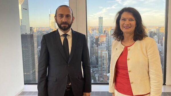 Министр иностранных дел Армении Арарат Мирзоян встретился с главой МИД Швеции Анн Линде (25 сентября 2021). Нью-Йорк - Sputnik Армения