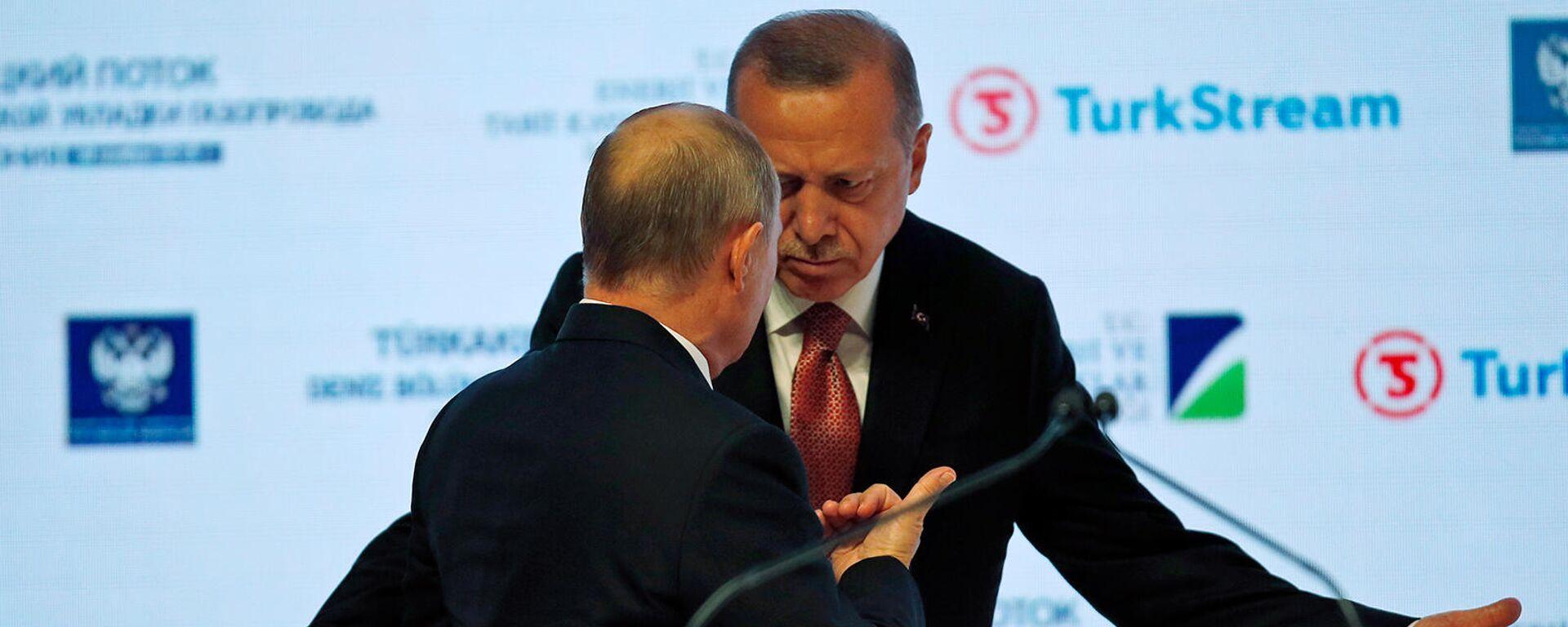 Президенты России и Турции Владимир Путин и Реджеп Тайип Эрдоган на мероприятие, посвященное завершению одного из этапов строительства газопровода Турецкий поток (19 ноября 2018). Стамбул - Sputnik Армения, 1920, 28.09.2021