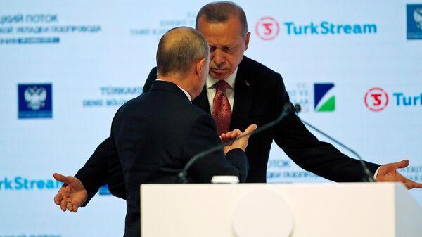 Президенты России и Турции - Владимир Путин и Реджеп Тайип Эрдоган  - Sputnik Армения