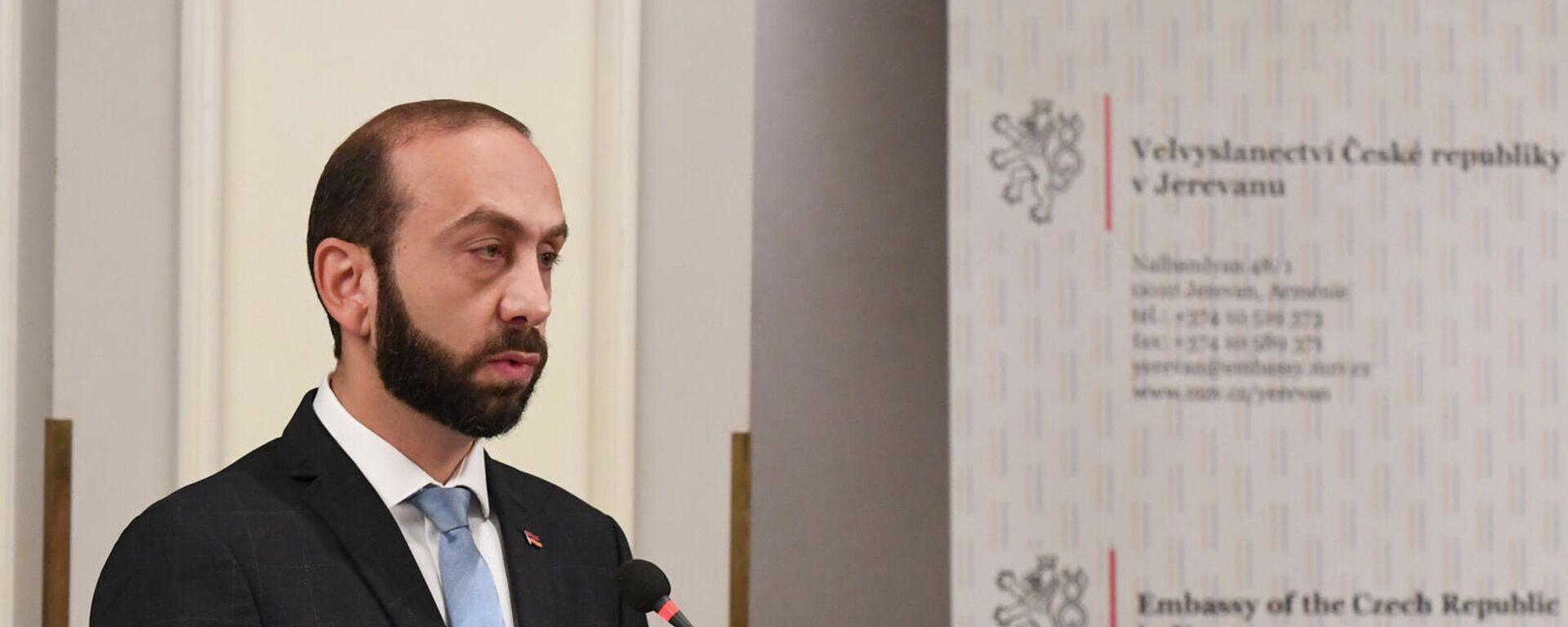Министр иностранных дел Армении Арарат Мирзоян выступают с речью на армяно-чешском бизнес-форуме (1 октября 2021). Еревaн - Sputnik Армения, 1920, 01.10.2021