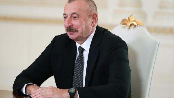 Президент Азербайджана Ильхам Алиев во время встречи с министром иностранных дел России (10 мая 2021). Баку - Sputnik Армения