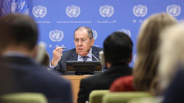 Министр иностранных дел РФ Сергей Лавров на пресс-конференции на Генеральной Ассамблее Организации объединенных наций (ООН) в Нью-Йорке.  - Sputnik Армения