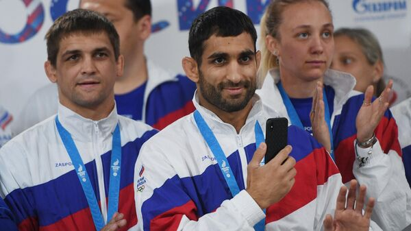Встреча делегации российских спортсменов-участников II Европейских игр - Sputnik Армения