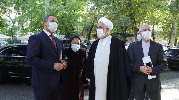 Генпрокуроры Армении и Ирана Артур Давтян и Мохаммад Джафар Монтазери на встрече (12 октября 2021). Еревaн - Sputnik Արմենիա