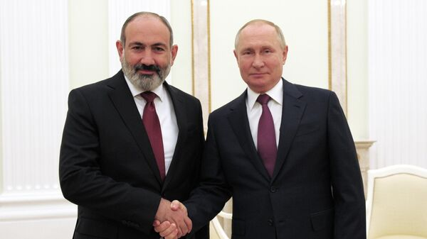 Встреча премьер-министра Армении Никола Пашиняна и президента РФ Владимира Путина (12 октября 2021). Москва - Sputnik Армения