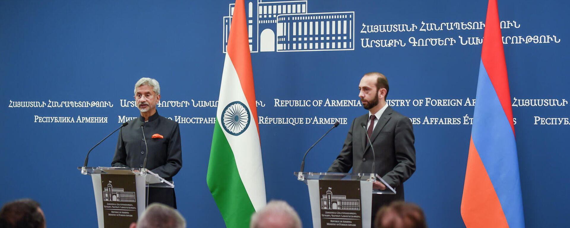 Главы МИД Армении и Индии Арарат Мирзоян и Субраманьям Джайшанкар на пресс-конференции (13 октября 2021). Еревaн - Sputnik Армения, 1920, 13.10.2021