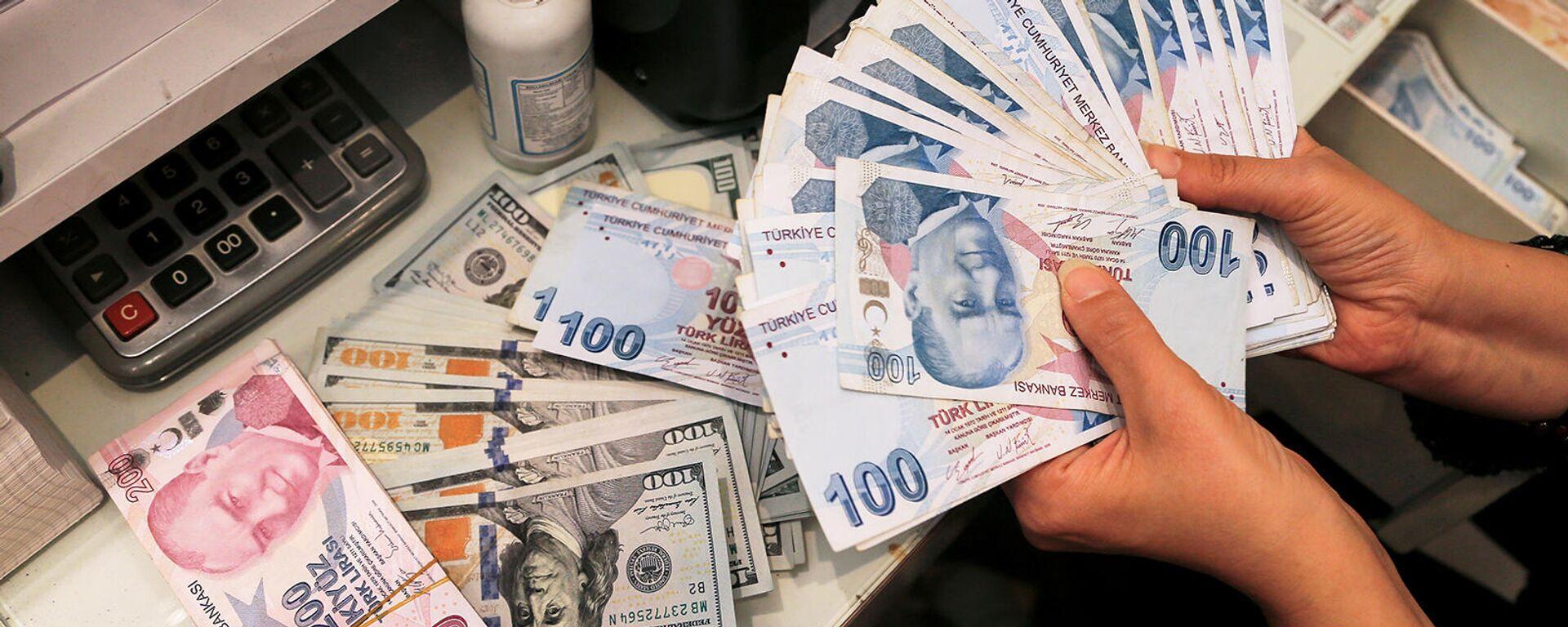 Сотрудник обменного пункта в Анкаре держит турецкие лиры. - Sputnik Армения, 1920, 11.10.2021