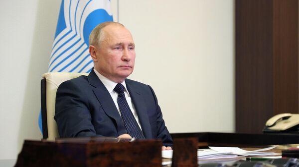 Президент РФ Владимир Путин в режиме видеоконференции принимает участие в заседании Совета глав государств - участников СНГ (15 октября 2021). Москва - Sputnik Армения