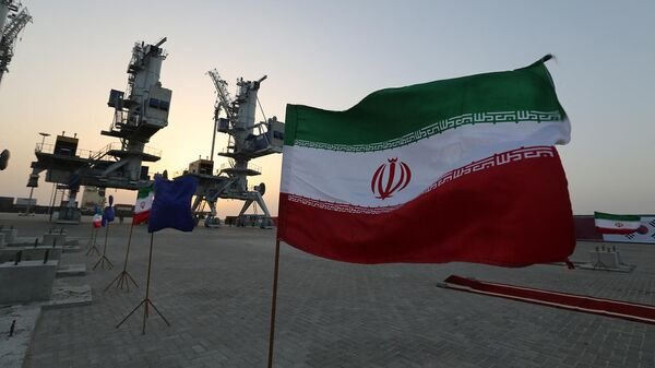 Флаги Ирана во время церемонии открытия новой инфраструктуры в порту Шахид Бехешти в прибрежном городе Чабахар (25 февраля 2019). Иран - Sputnik Армения