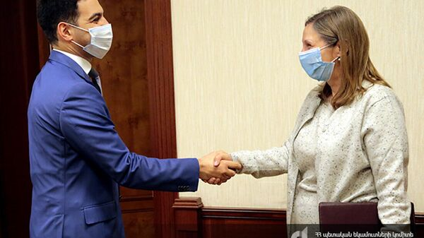 Председатель КГД Рустам Бадасян принял посла США Линн Трейси (20 октября 2021). Еревaн - Sputnik Армения