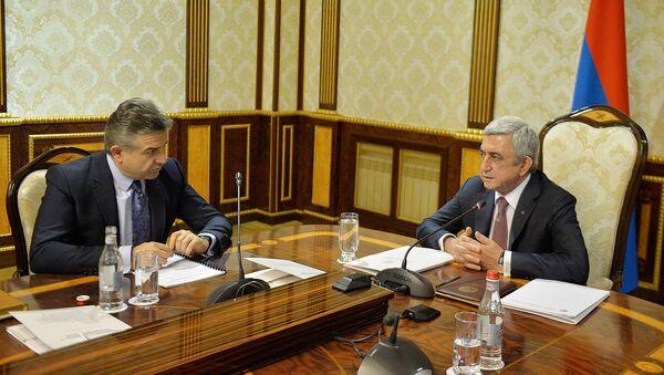 Президент и премьер министр Армении Серж Саргсян и Карен Карапетян - Sputnik Արմենիա