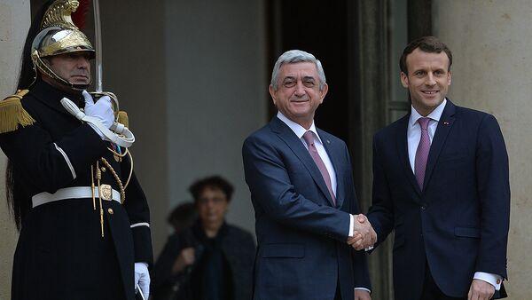 Президенты Франции и Армении Эммануэль Макрон и Серж Саргсян - Sputnik Արմենիա