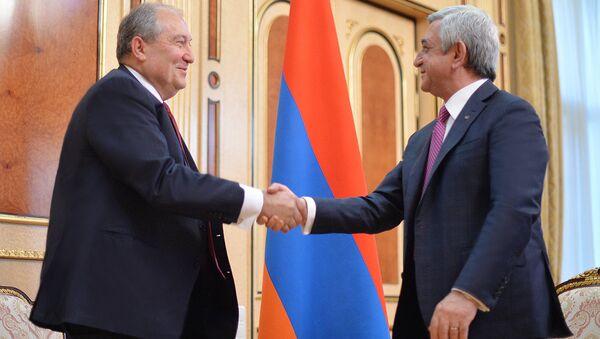 Президент Серж Саргсян и выдвинутый от РПА кандидат в президенты Армении Армен Саркисян - Sputnik Армения