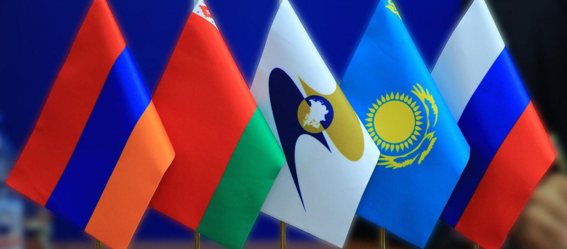 Евразийское экономическое сообщество (ЕАЭС) флаги  - Sputnik Արմենիա, 1920, 21.07.2021