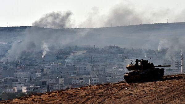 Турецкий танк на турецко-сирийской границе - Sputnik Արմենիա