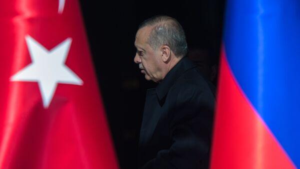 Президент Турции Реджеп Тайип Эрдоган на церемонии запуска начала строительства первого энергоблока атомной электростанции Аккую (3 апреля 2018). Анкара, Турция - Sputnik Արմենիա
