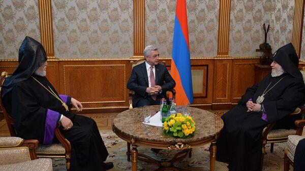 Премьер-министр Серж Саргсян принял Католикоса Гарегина 2-го и Арама 1-го - Sputnik Արմենիա