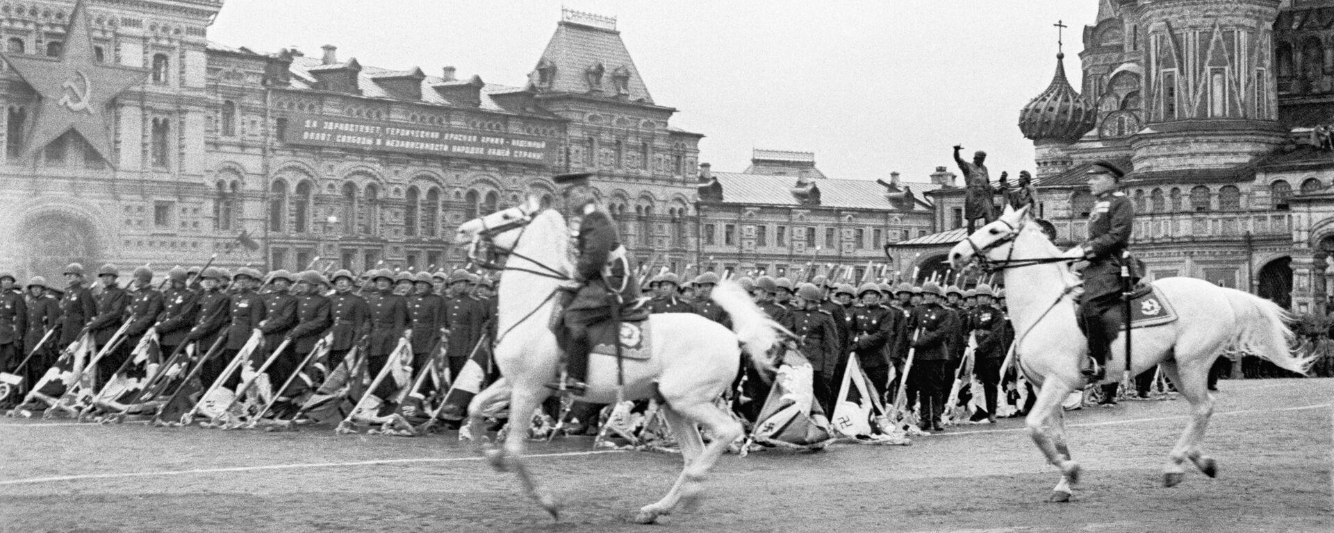 Парад на Красной площади в ознаменование победы СССР над Германией в Великой Отечественной войне (24 июня 1945). Москвa - Sputnik Արմենիա, 1920, 22.06.2021