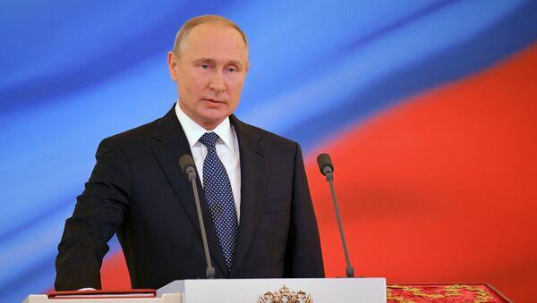 Президент России Владимир Путин во время церемонии инаугурации (7 мая 2018). Москвa - Sputnik Армения