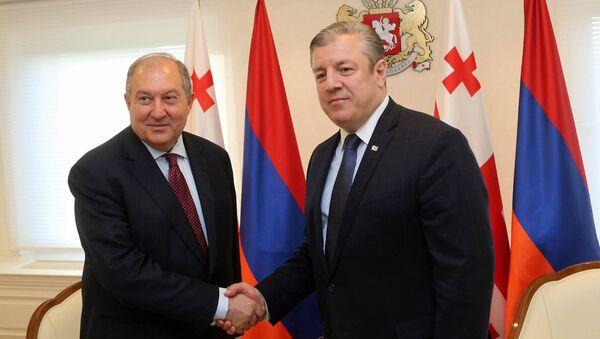 Президент Армении Армен Саркисян встретился с премьер-министром Грузии Георгием Квирикашвили (25 мая 2018). Тбилиси - Sputnik Армения