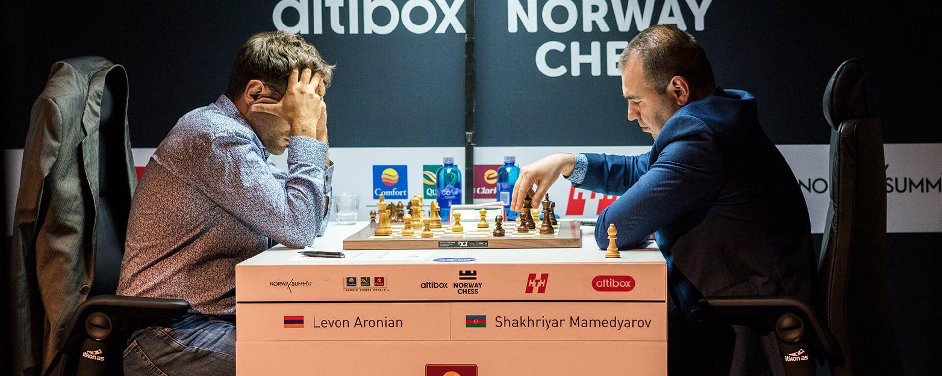 Партия Левон Аронян Шахрияр Мамедъяров в турнире Altibox Norway Chess 2018 (1 июня 2018). Ставангер, Норвегия - Sputnik Армения, 1920, 11.09.2021
