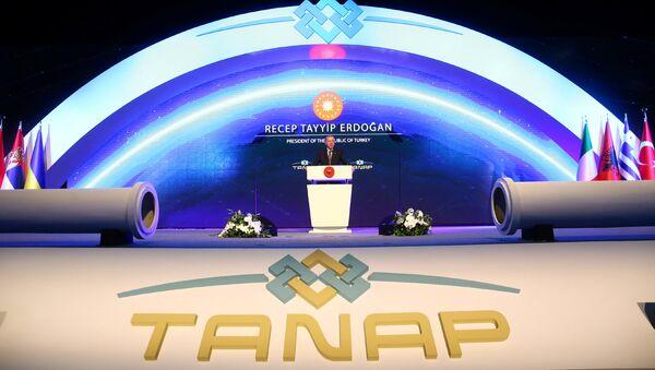 Выступление Президента Турции Тайипа Эрдогана во время церемонии открытия Трансанатолийского газопровода /TANAP/ (12 июня 2018). Эскишехир, Турция - Sputnik Армения