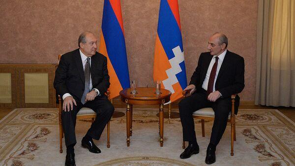 Президент Армении Армен Саркисян встретился с Президентом Карабаха Бако Саакяном (13 июня 2018). Еревaн - Sputnik Армения