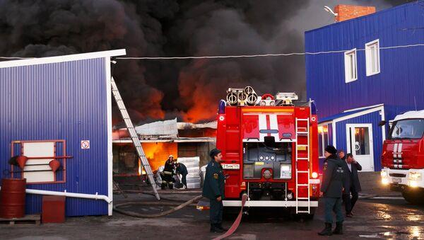 Сотрудники противопожарной службы тушат пожар. Архивное фото - Sputnik Армения