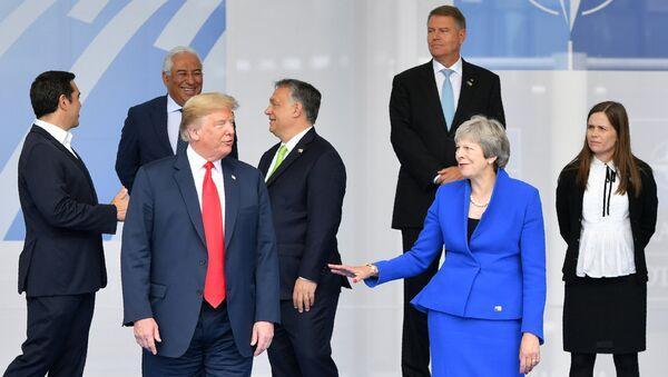 Президент США Дональд Трамп во время церемонии открытия саммита НАТО (11 июля 2018). Брюссель - Sputnik Армения