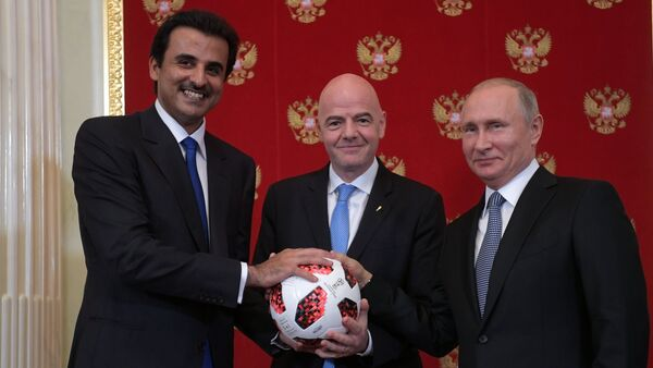 Президент РФ В. Путин принял участие в церемонии передачи Катару полномочий на проведение ЧМ-2022 по футболу - Sputnik Армения
