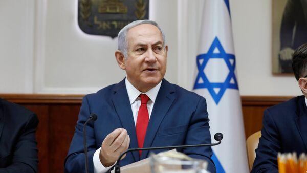 Премьер-министр Израиля Биньямин Нетаньяху во время еженедельного заседания Кабинета министров (8 июля 2018). Иерусалим - Sputnik Армения