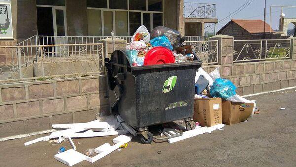 Переполенный мусорный бак в Норкском массиве (28 июля 2018). Еревaн - Sputnik Армения