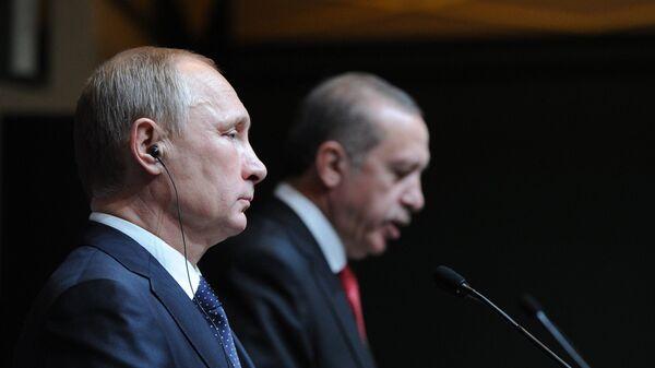 Президенты России и Турции Владимир Путин и Реджеп Тайип Эрдоган на совместной пресс-конференции (1 декабря 2014). Анкара - Sputnik Армения