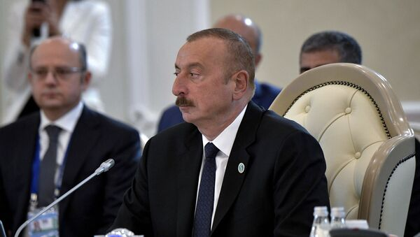 Президент Азербайджана Ильхам Алиев во время Пятого Касписйкого Саммита (12 августа 2018). Актау - Sputnik Արմենիա