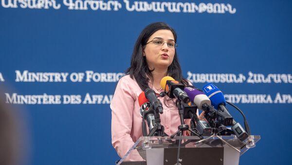 Пресс-конференция спикера МИД Армении Анны Нагдалян (20 декабря 2018). Еревaн - Sputnik Արմենիա