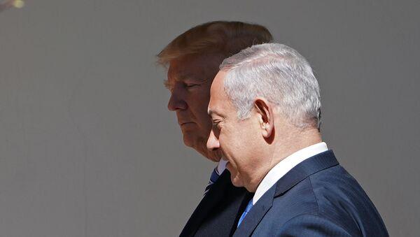 Президент США Дональд Трамп и премьер-министр Израиля Биньямин Нетаньяху во время встречи в Белом доме (5 марта 2018). Вашингтон - Sputnik Армения