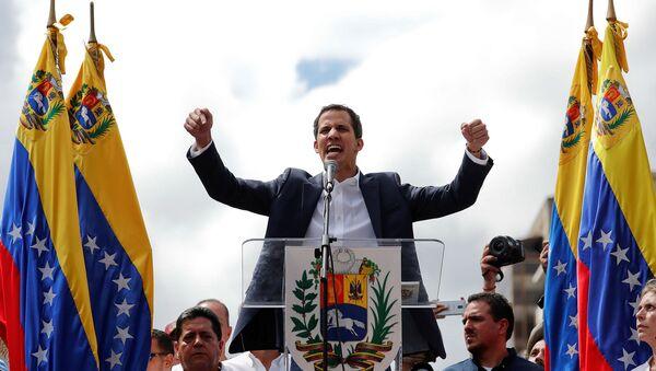 Председатель НС Венесуэлы Хуан Гуайдо во время митинга против правительства президента Николаса Мадуро (23 января 2019). Каракас - Sputnik Армения