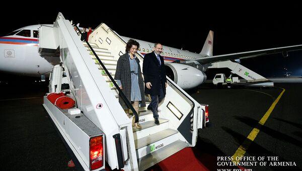 Премьер-министр Никол Пашинян с супругой Анной Акопян прибыли в Берлин (31 января 2019). Берлин - Sputnik Արմենիա