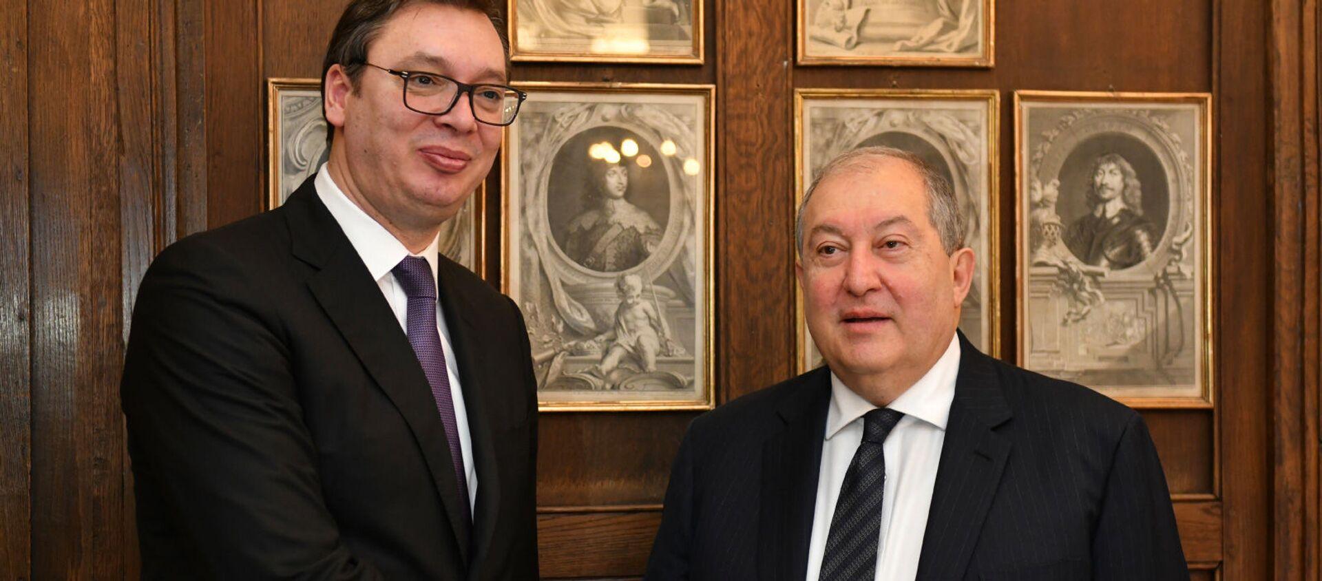 Встреча президента Армена Саркисяна  с президентом Сербии Александром Вучичем в Мюнхене - Sputnik Армения, 1920, 29.07.2021