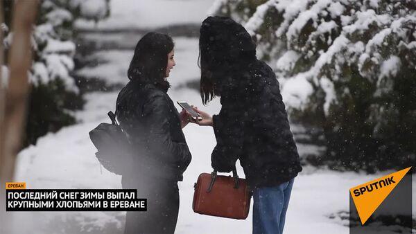 Последний снег зимы выпал крупными хлопьями в Ереване - Sputnik Армения