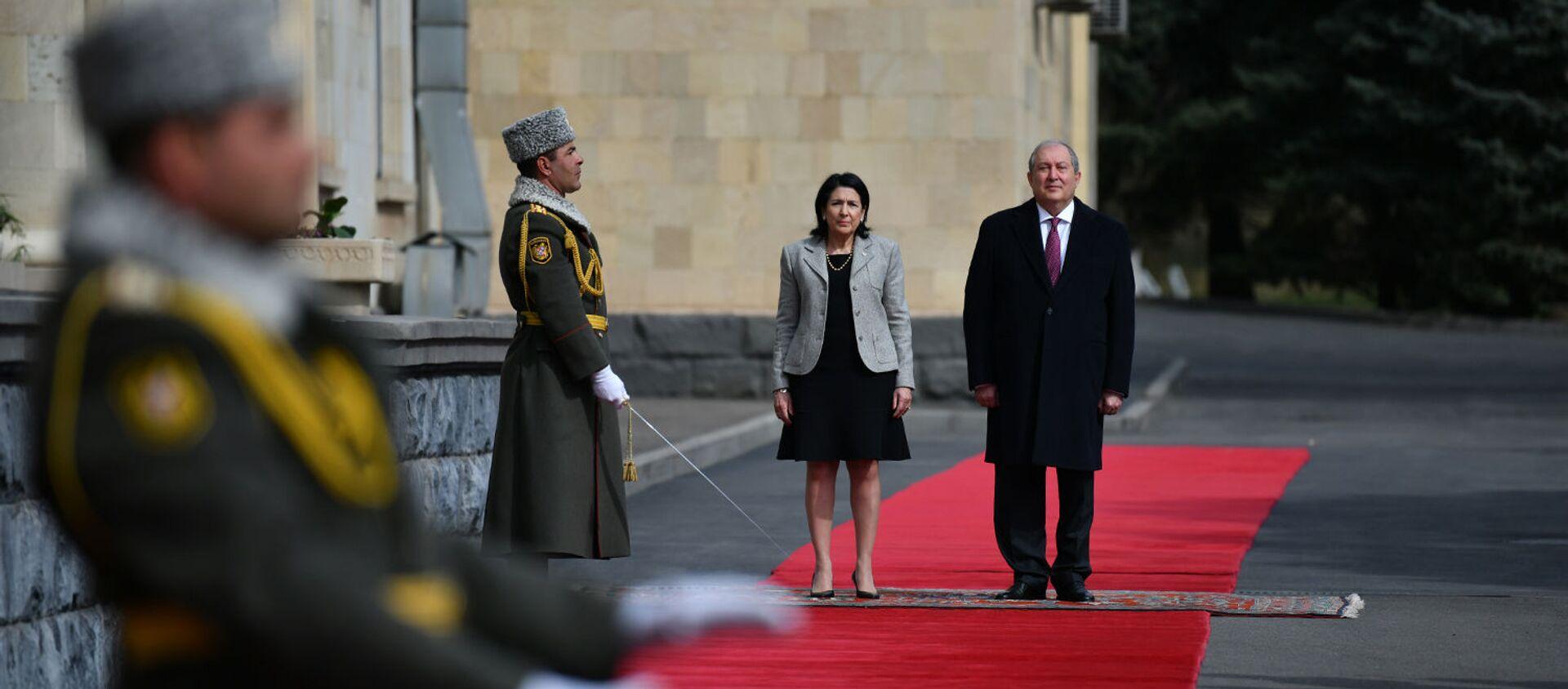 Церемония завершения официального визита президента Грузии Саломе Зурабашвили в Армению (14 марта 2019). Еревaн - Sputnik Արմենիա, 1920, 15.04.2021
