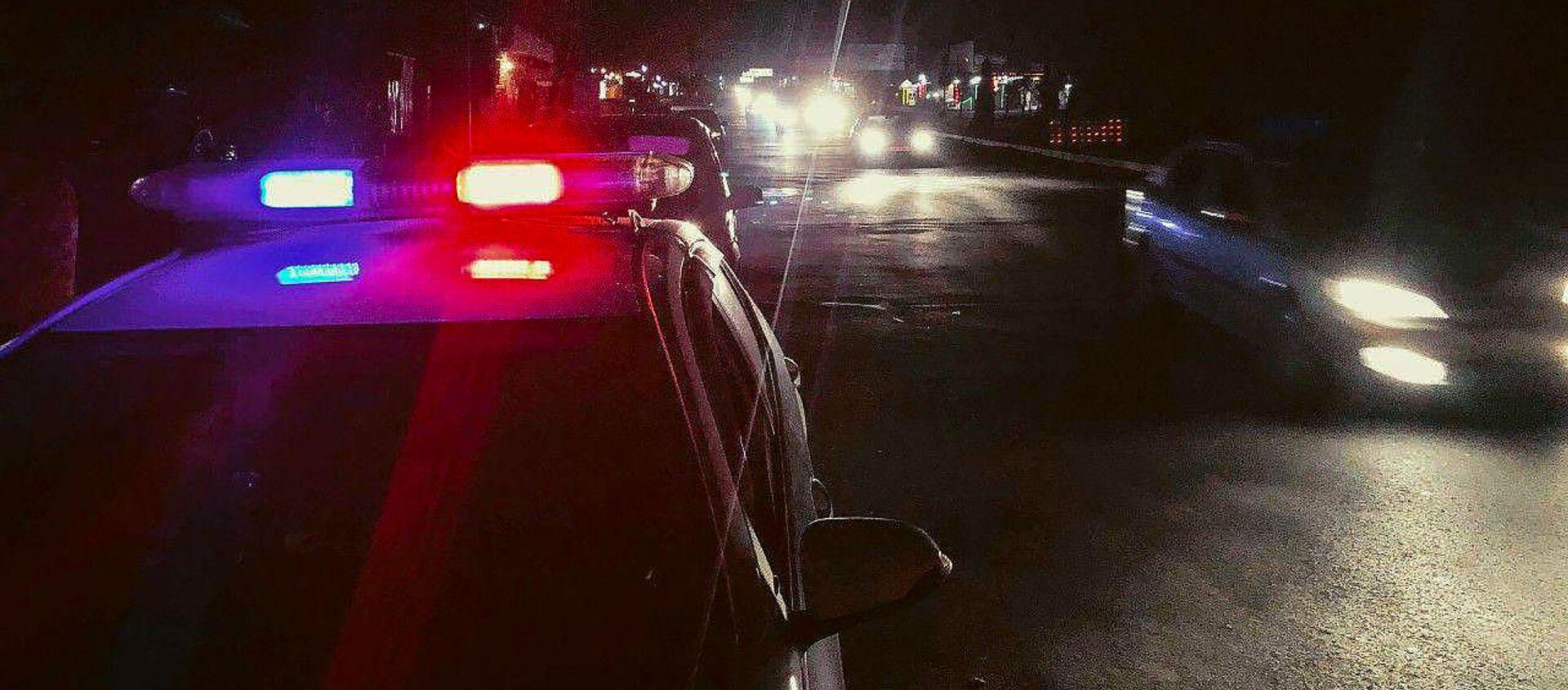 Полицейский автомобиль на улице Ачаряна, где неизвестный сбил пешехода (16 марта 2019). Еревaн - Sputnik Արմենիա, 1920, 03.08.2021