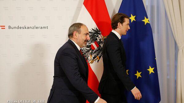 Встреча премьер-министра Армении Никола Пашиняна с канцлером Австрии Себастьяном Курцем (29 марта 2019). Вена - Sputnik Արմենիա