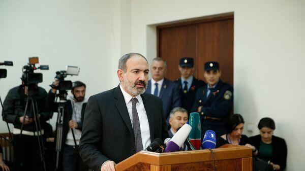 Премьер-министр Никол Пашинян посетил суд общей юрисдикции административного района Шенгавит в качестве свидетеля и дал показания по делу от 31 марта 2017 года (3 апреля 2019). Еревaн - Sputnik Армения