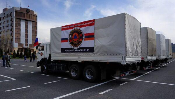 Совместная гуманитарная помощь МЧС Армении и России для пострадавших от наводнения районов Ирана (8 апреля 2019). Еревaн - Sputnik Армения