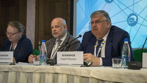 Председатель правления Евразийского банка развития Андрей Бельянинов во время Конгресса евразийских СМИ (25 апреля 2019). Тверская область - Sputnik Արմենիա